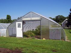 High tunnel greenhouse with roll up door and louvered end wall ventilation Tunnel Greenhouse, Greenhouse Growing, Greenhouse Plans, Greenhouse Ventilation, Ventilation System, Aquaponics System, Hydroponics, Modern Greenhouses, Plant Watering System
