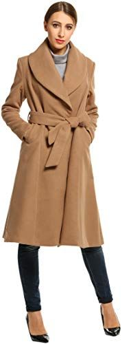 BEAUTYTALK Womens Trench Coat Cotton Lapel Double-Breasted Long Jackets L-4XL