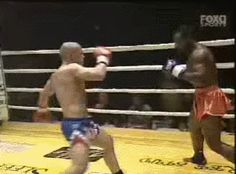 Zambidis' powerful right hook forces his opponent to raise their gloves, this leaves them with a pair of upright forearms through which his knee can travel. Notice this beautiful feinted right hand to hopping knee strike against Stanley Nandex (followed by a bicycle knee for the second knockdown and the finish).