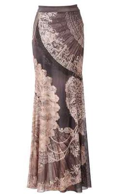 Trendy Black Mermaid Skirt by Michal Negrin with Fans Motif and Crystals; Israel   eBay