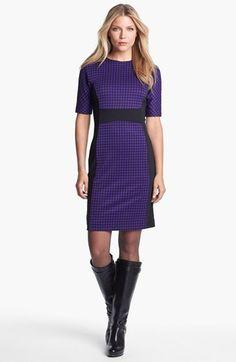 Michael Kors Purple & Black Print Colorblock Dress #commandress