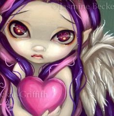 Faces of Faery 70 pink purple heart big eye fairy face art print by Jasmine Becket-Griffith 6x6