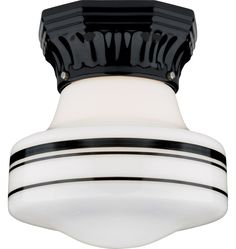 mathison schoolhouse light with black porcelain fixture and black banded shade from rejuvenation house parts