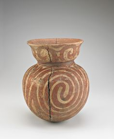 Vessel with round bottom  300 B.C.E.-200 C.E.    Ban Chiang culture   Prehistoric     Earthenware with red pigment  H: 33.5 W: 23.0 cm   Northeast Thailand