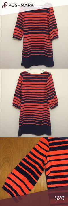 "Auburn dress 🏈🐅 Hello Miss dress in orange & navy stripe.  3/4 sleeves. Bateau neck. 32"" front length, 34"" back length. Excellent condition. Dresses"