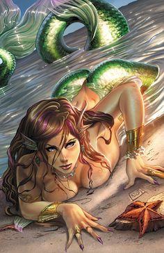 Awesome comic book style mermaid by Bakanekonei