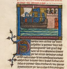 Crusaders. Royal 19 D I   f. Description:Detail of a miniature of the king of France and his crusading army on a ship, approaching a fortress manned by Saracens.