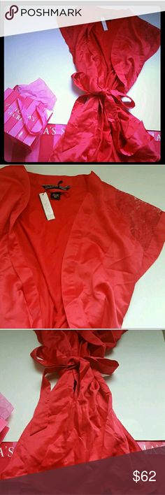 New! Victoria's secret red robe! New with tags! Gorgeous Victoria's Secret silk like red robe, size small. Lace shoulder detail, cap sleeves. Falls high thigh! Small size Victoria's Secret Intimates & Sleepwear Chemises & Slips