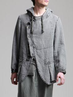 ASYMMETRIC JACKE MIT ALTER LEINEN WOVEN - Jacken, Hemden, Hosen, Jersey, Strickwaren, Zubehör - Mann -