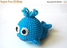 Crochet Toy Whale Blue Marine Animal Rattle by MiracleFromThreads Toddler Toys, Baby Toys, Crochet Toys, Crochet Baby, Baby Whale, Teething Toys, Baby Rattle, Cute Toys, Handmade