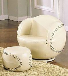 Acme All Star Baseball Swivel Chair & Ottoman Set