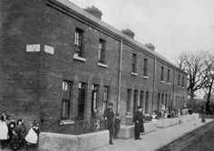 Dublin new Housing ,Before the First World War, Dublin Corporation only built houses and flats. It built another 858 by by which time between and people urgently needed b/w photo Colorized by Pearse. Ireland Pictures, Old Pictures, Old Photos, Dublin Street, Dublin City, Photo Engraving, Industrial Architecture, Dublin Ireland, Historical Photos
