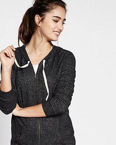 express one eleven plush jersey zip hoodie