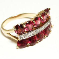 Vintage 14kt Yellow Gold Pink Tourmaline and Diamond Ring