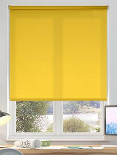 Fantastic Absolutely Free Roller Blinds conservatory Tips Buying roller blinds ? Then you may be trying to find expert guidance. in the end, when decorating a room, the mind migh Yellow Roller Blinds, Sheer Roller Blinds, Blinds Online, Big Boy Bedrooms, Blackout Blinds, Blinds For Windows, Neon Yellow, Wall Colors
