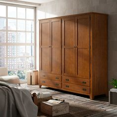 solid pine wood wardrobe Ocean collection Indufex