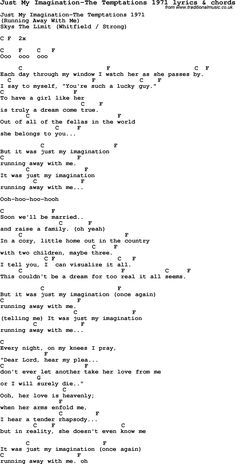 Love Song Lyrics for: Just My Imagination-The Temptations 1971 with chords for Ukulele, Guitar Banjo etc.