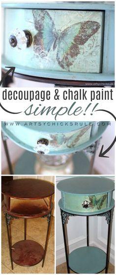 Easy DECOUPAGE!! (with Chalk Paint) artsychicksrule.com #chalkpaint #decoupage
