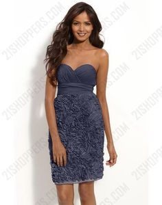 Dark grey column sweetheart lace-up bridesmaid dress with twisted drape and floral embellishment