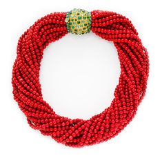 FD Gallery | A Coral and Emerald Torsade Necklace, by Boivin, circa 1950