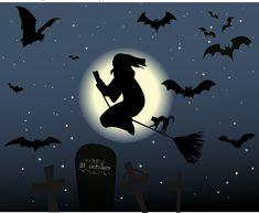 Halloween, Hexe, Hexenbesen, Katze, Mond, Sterne, Magie