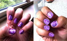 Swirly pattern - apply base coat, put drops of nail polish on top, use toothpick to make pattern (make sure nail polish is wet)