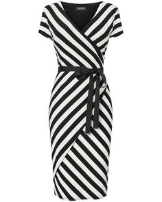 *not sure if this would work because of the pattern, but maybe, but longer sleeves look better on me Phase Eight - Black/Ivory Coco Stripe Wrap Dress