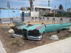 Car Planter Parking Lot at Vintage Row in Long Beach, CA