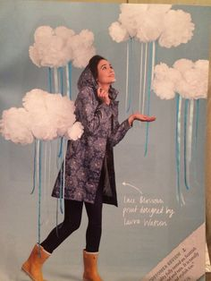 Love these rain clouds, made from tissue paper pom poms and blue ribbons (Found in the Seasalt catalogue)