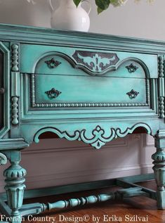 - Rare Antique Ornate Jacobean Hand Painted French Country Design Distressed Turquoise / Aquamarine Blue Green Buffet Sideboard on Etsy Skid Furniture, Chalk Paint Furniture, Hand Painted Furniture, Refurbished Furniture, Painted China Cabinets, Painted Buffet, Turquoise Furniture, Colorful Furniture, Diy Furniture Renovation