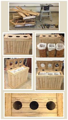 Old pallets, and some scrap plywood turned into an indoor recycling separator - http://dunway.info/pallets/index.html