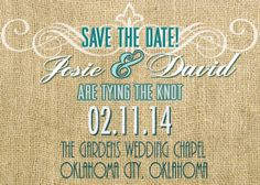Burlap and Turquoise Save the Date by PorterColeDesigns on Etsy, $12.50