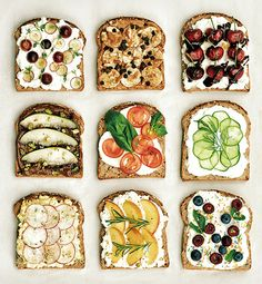 'Open Sandwiches'_ Vogue Girl Korea / Editor : Hyevin Chun / Food Styling : Hyevin Chun / Photographed by Dong Hyun Jung Quick Healthy Breakfast, Good Healthy Snacks, Healthy Chicken Recipes, Breakfast Recipes, Snack Recipes, Cooking Recipes, Breakfast Ideas, Bistro Food, Food Platters