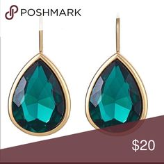"Fornash - Emerald Earrings - Middleton Tear drop faceted glass with French with hooks. 7/8"" wide x 1.25"" long Fornash Jewelry Earrings"