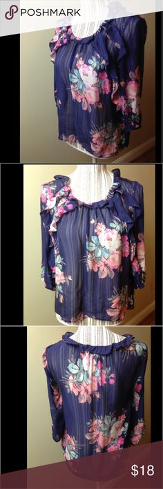 Floral Blouse Sz 4 silk This sheer blouse is in excellent used contact.  100% silk.  It measures 17 inches from pit to pit making it 34 inches across... Anthropologie Tops Blouses