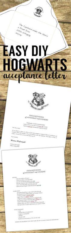 Harry Potter Hogwarts Acceptance Letter easy DIY tutorial with template. Make ad personalize your own Hogwarts acceptance letter. Also print a Hogwarts envelope and Platform 9 3/4 ticket.