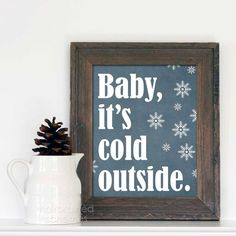Digital Art Christmas Print Poster Baby It's Cold Outside Snowflake Art Print - Denim Blue Snowflakes on Etsy, $15.00