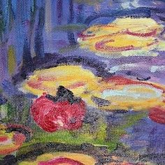 Hand-painted Oil Painting Water Lilies Claude Monet with Stretched Frame - OutletsArt.com
