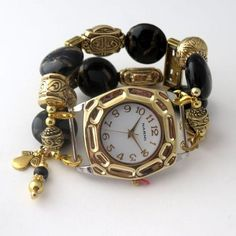 Gold and Black Beaded Watch Band and Gold Watch Face W685 | DesignsForAnAngel - Jewelry on ArtFire