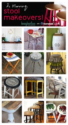 20 bar stool makeovers - perfect if you are looking to makeover your home in a simple, easy way!