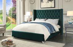 Aiden Green Velvet Queen Bed