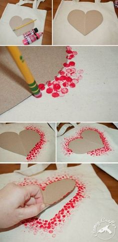 DIY Tote Bag - Make This Fabulous Heart Tote Bag with a Pencil!, DIY Tote Bag - Make This Fabulous Heart Tote Bag with a Pencil! Easy DIY Tote bag from Clumsy Crafter for Valentine& day. Unique Valentines Day Gifts, Valentine Day Crafts, Be My Valentine, Holiday Crafts, Fun Crafts, Diy And Crafts, Paper Crafts, Kids Valentines, Homemade Valentines Day Cards