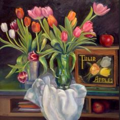 """""""Tulips and Apples"""" by Jane McElvany Coonce #art #spring #flowers"""