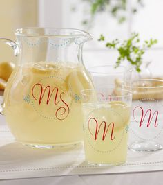 A monogrammed pitcher set would make a cute wedding present! @Plaid Crafts #creativitymadesimple