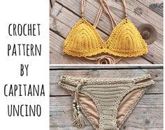 PDF-file for Crochet PATTERN, Marina Crochet Bikini Top and Basic Bottom with more coverage, Sizes XS-L, Surfer Bikini