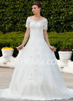 Wedding Dresses - $202.99 - Ball-Gown Off-the-Shoulder Chapel Train Organza Wedding Dress With Ruffle Lace Beadwork (002011562) http://jjshouse.com/Ball-Gown-Off-The-Shoulder-Chapel-Train-Organza-Wedding-Dress-With-Ruffle-Lace-Beadwork-002011562-g11562