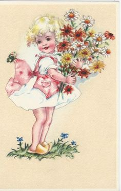 Meisje met bos bloemen