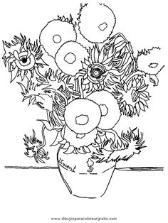 les-tournesols-van-gogh Paintings Coloring pages for adults and teenagers free high quality Art Van, Van Gogh Art, Club D'art, Art Club, Colouring Pages, Coloring Books, Free Coloring, Coloring Sheets, Kids Coloring