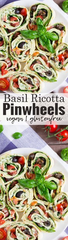 These basil ricotta pinhweels are perfect if you're looking for vegan party food! They're made with cashew ricotta, olives, and spinach. So delicious and super easy to make! Find more vegan recipes at veganheaven.org <3