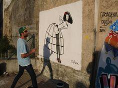 Meninas 2014. MR AL, de Madrid, pintando su visión de la Menina.